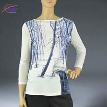 Factory wholesale knitted ladies long sleeve tunic 3d tops
