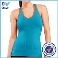 2015 Yihao OEM Popular ladies running vest deep scoop neck different color raceback tank tops sexy tops for women