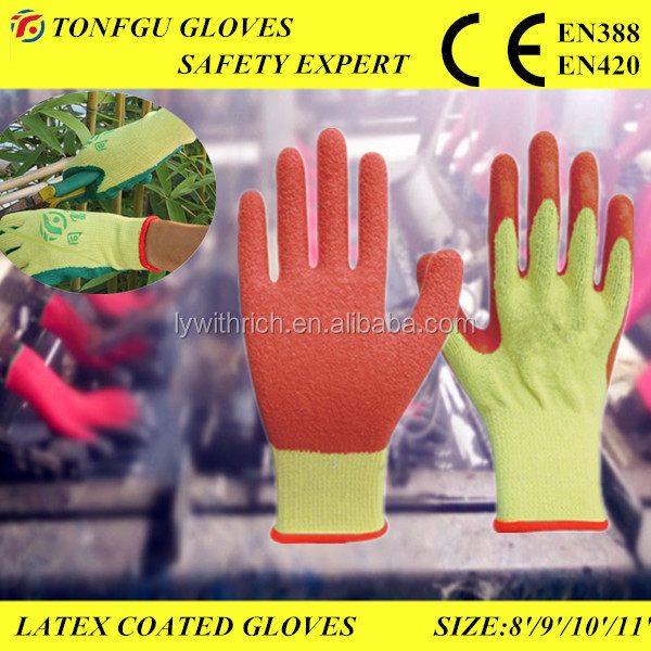 Red latex coated work gloves wholesale / rubber coated cotton gloves latex