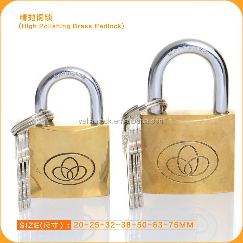 Super Polish New Brass Padlock,Cheap Safety Lock With Flat Key
