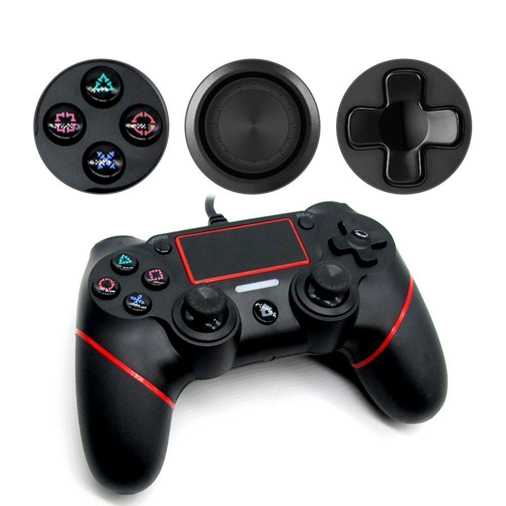 USB Wired Game Controller For PlayStation 4 Joystick Gamepad Controller (Black+Red)