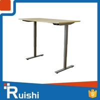 Curved metal legs lifting office table or desk
