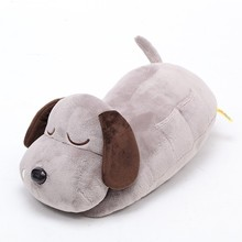 S/M/L beautiful customized grey plush lying dog animal toy with embroidery sleeping eyes