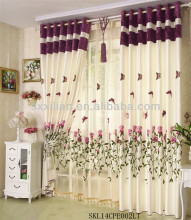 luxury 100% polyester red embroidered curtains