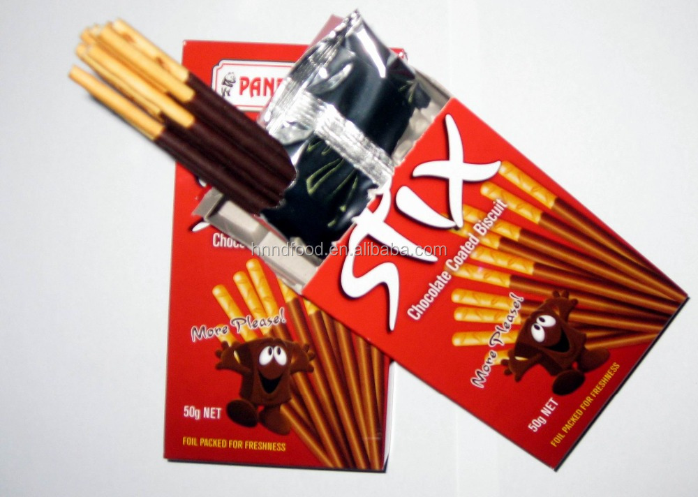 OEM snack food chocolate coated stick biscuit