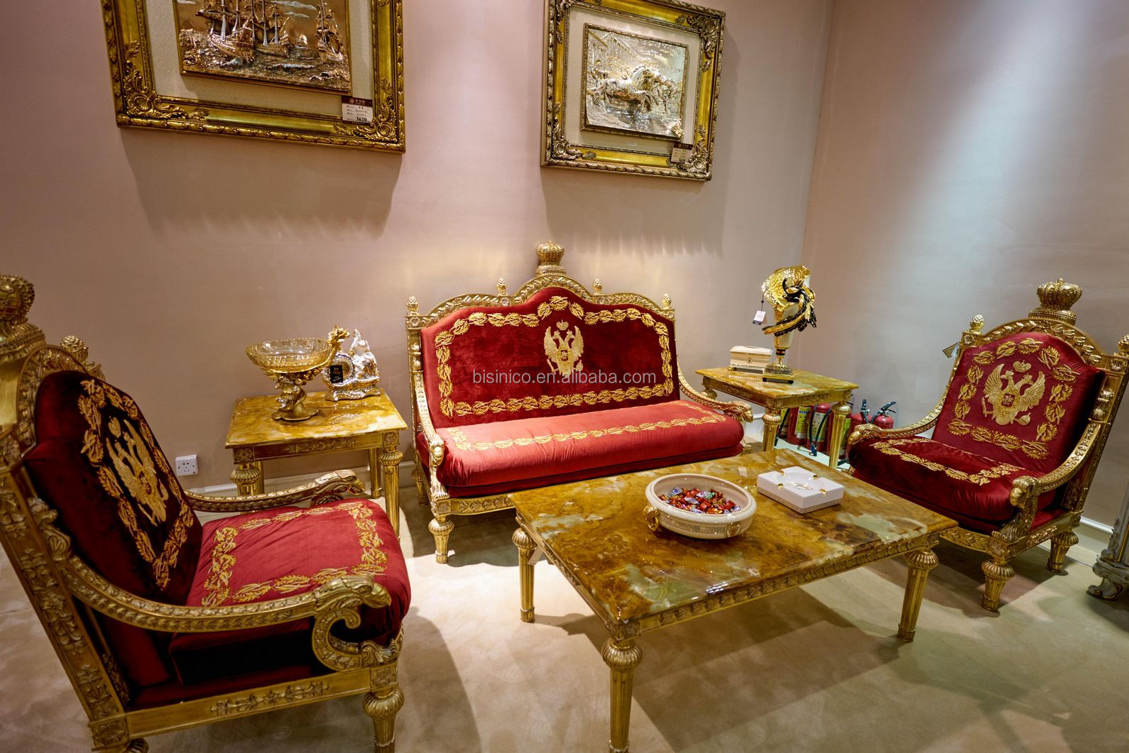 European Baroque Design Gold Leaf Wooden Carved Throne Chair / Antique Golden Royal King Sofa Table Set