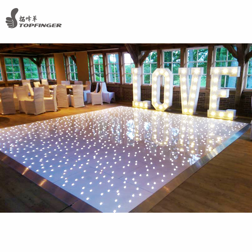 usa los angeles black & white color party starlit round weddings led dance floor for rental