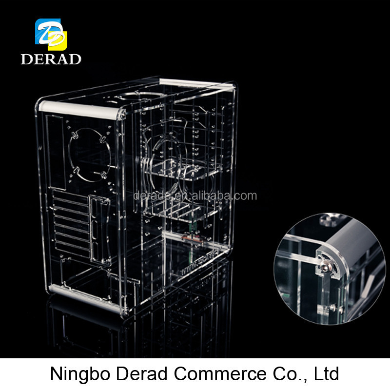 PC-A008 Deluxe Acrylic Transparent Clear Plastic LED Gaming Computer Case