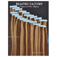 "Beauties Factory 20"" Tape in Skin Weft 100% Remy Human Hair Extensions #6/27 Golden Brown/Butterscotch"