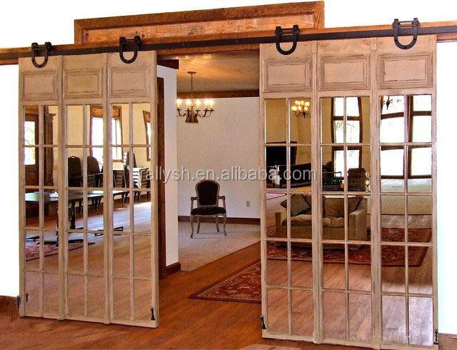 Modern sliding barn wood door hardware set suitable for for Cheap sliding barn doors