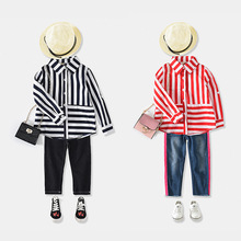 2018 Boutique Girl Clothing Long Sleeve Shirt Collared Loose Top For Kids Stock 18633