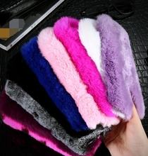 Winter Soft Warm Plush Rabbit Hair Fur Case with Cute Bowknot Handmade Decorative Case,Rabbit Fur case For Iphone 5 6 6p 7 7p