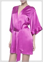 New adult drop seat footed pajamas silk robe polyester nightshirt