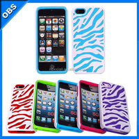 2 in 1 silicone PC zebra pattern mobile phone case for iphone4(OBS-PG5-6018)
