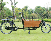 Classic electric cargo bike/dutch bike/electric bike bicycle with wooden box for family UB9016E