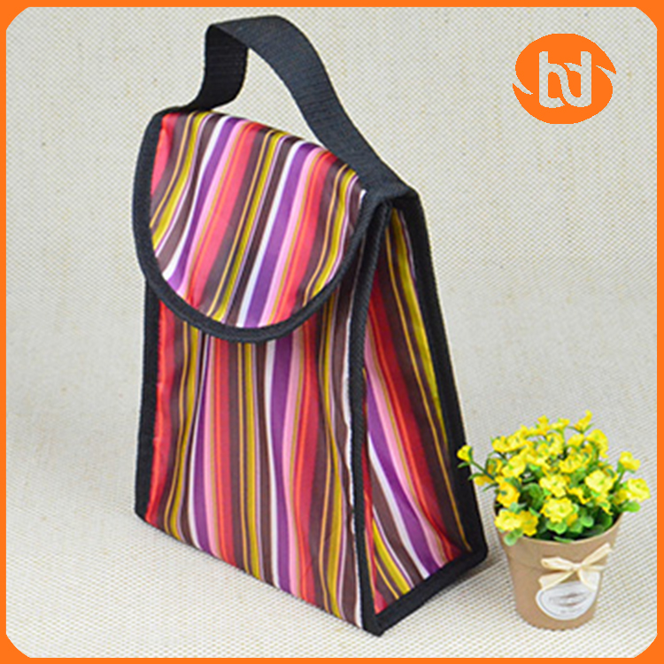 Outdoor fitness insulated stripe promotional lunch bag cooler bag