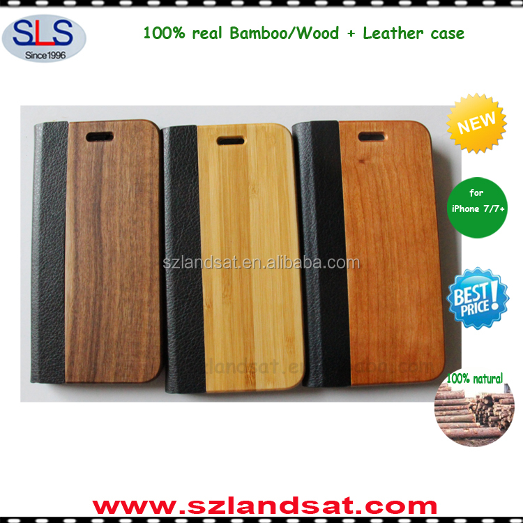 2016 New bamboo wooden phone book case for iphone 7 7 plus and wood leather case for iphone 6 7 IPC369