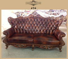 French rococo style solid wood luxury royalfurniture hand carved living room leather sofa set