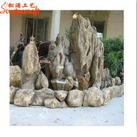 China high quality large stones garden fountains fake marble stone for garden fiberglass rock waterfall rockery landscape