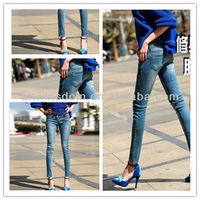SUMMER NEW LOW-WAIST PANTS,FEET SLIM THIN SLIT MOUTH PANTYHOSE KOREAN TIDAL NINE POINTS JEANS