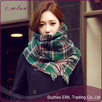 Thick double lattice scarf female fringed/Thick women shawls