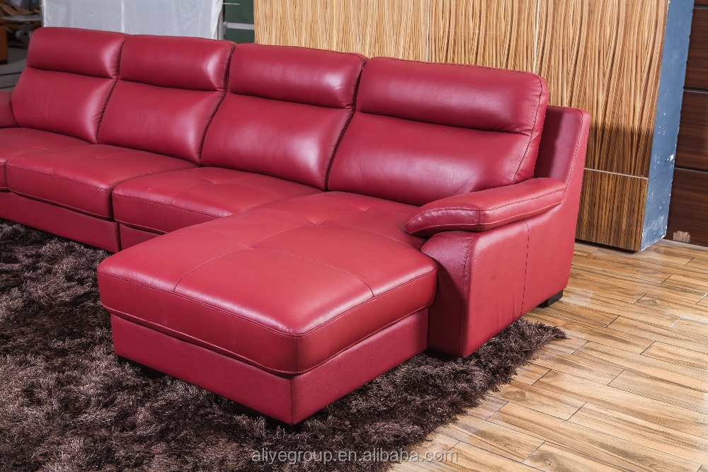 As100 New Design Living Room Furniture Leather Sofa And Chesterfield Red Leat