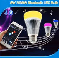 Wireless LED Bulb E27 RGBW Magic Light Bluetooth Lamp 8W rgb color change smart bluetooth bulb light