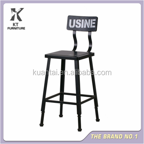 SQUARE UNIQUE DESIGN BALCK OIL PAINTING IRON BAR STOOLS YE-059