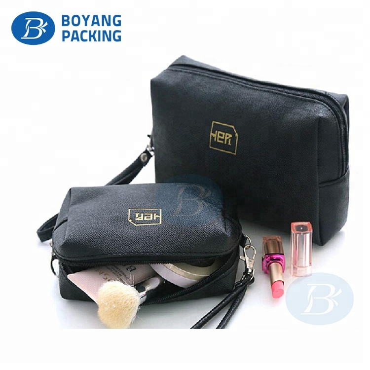 Modern eco-friendly travel black makeup bags blank canvas cosmetic bag
