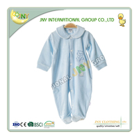 Best-selling new design velour light blue long sleeve baby spring romper