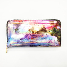 2017 New Model Women Wallet Phone Case Ladies Unicorn Printing PU Leather Wallet With 8 Card Slots