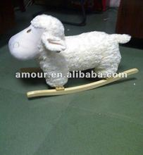 hot selling plush baby sheep rocking chair with wooden base educational fun new toys for christmas 2013