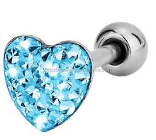 Heart gem 316L surgical steel tongue piercing rings Body Jewelry
