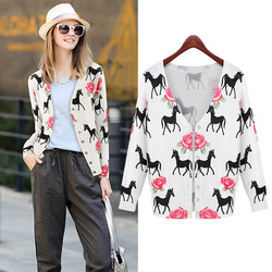Autumn 2015 European and American female long-sleeved cultivating new cardigan sweater knitted sweaters 5574 Pony
