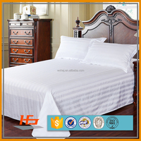 250 Thread Count Polyester And Cotton Blend Queen White Stripe Hotel Bedding Set