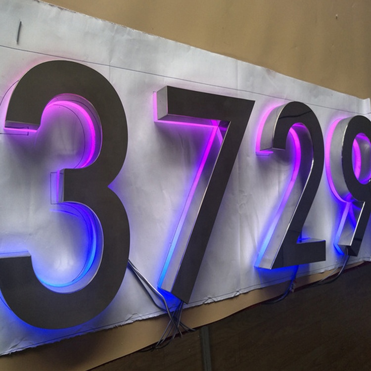3D outdoor waterproof RGB full color backlit logo sign LED house number <strong>signs</strong>