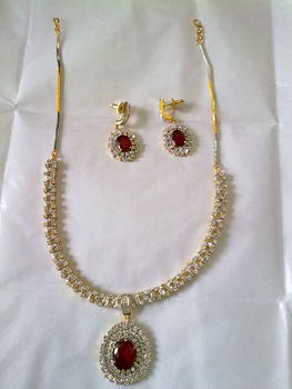 Beautifully Designed Zircon Necklace Earring Set Designed For All Occasions