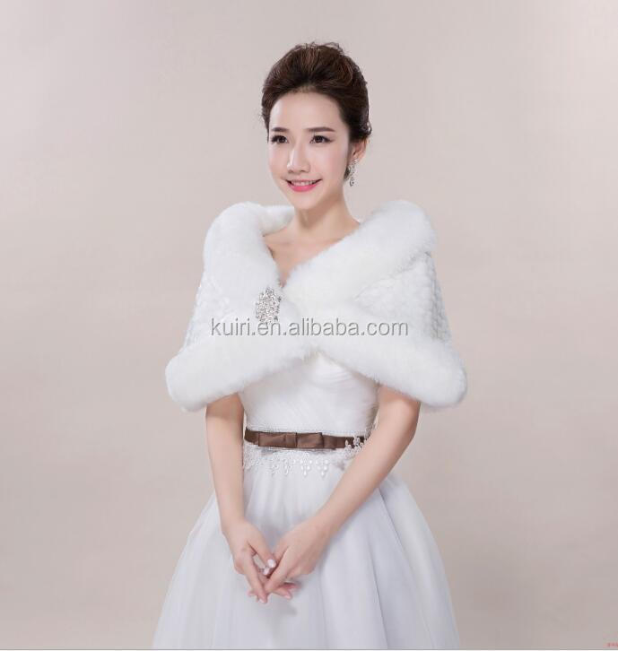 MM-J-18 Faux Fur Formal Dress Cape Bridal White Coat Shawls and Wraps Girls