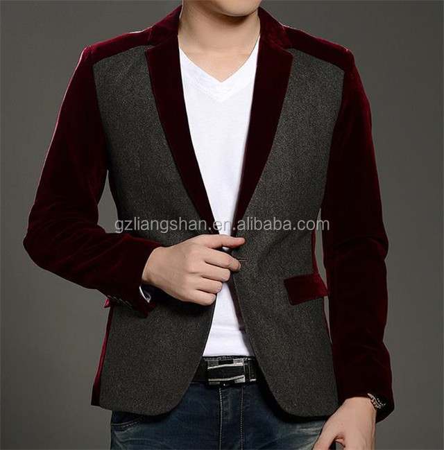 2015 New Fashion Business Suit For Men Casual Slim fit One Button Velvet Suit Blazer Coat Jackets