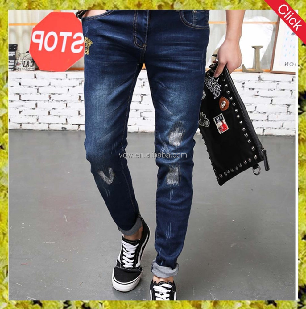 Cool boy jeans with embroidery logo/ Latest design jeans kinny men jeans pants