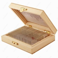 AmScope supplies 25 Glass Prepared Microscope Slides with Wooden Box