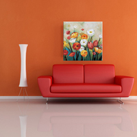 Colorful handmade beautiful flower painting on canvas for home decorate