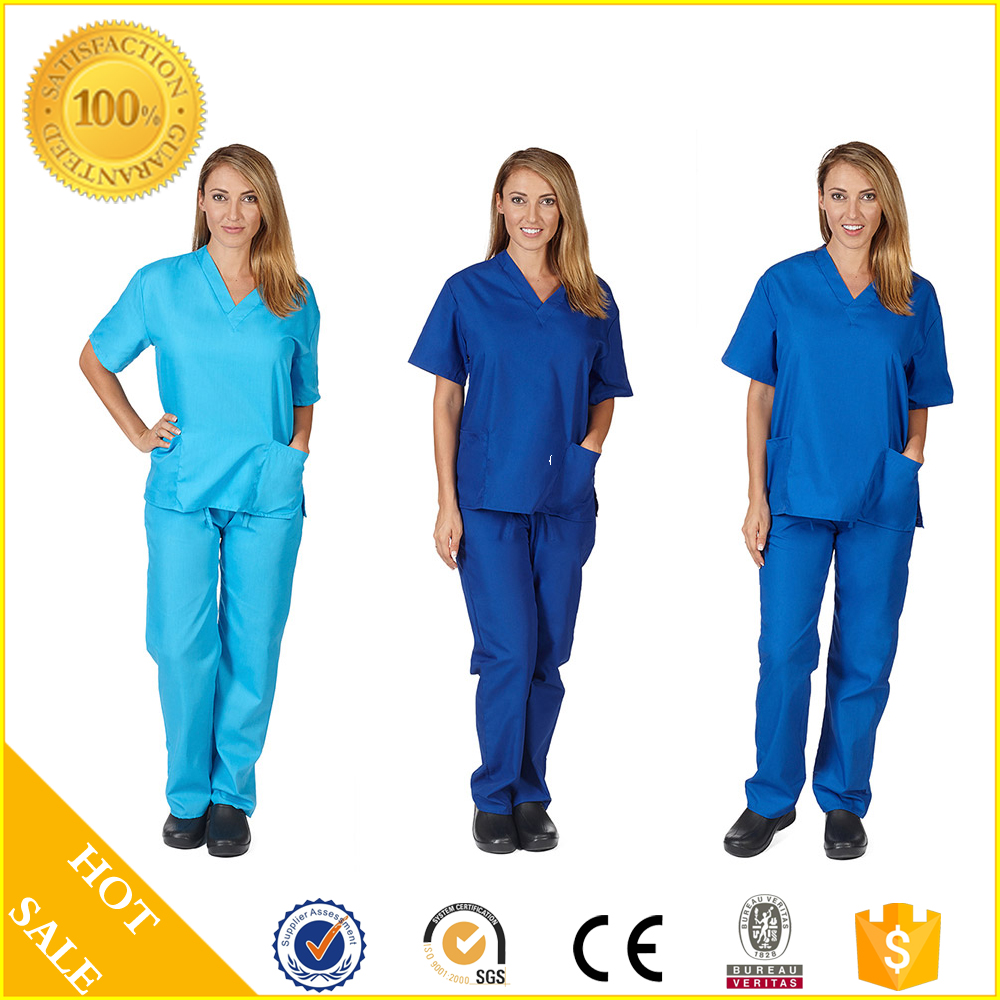 Hospital Workwear Solid Color V-neck Scrubs Top Dustproof Suits Made In China
