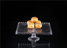 High End Square Flower Emboss Crystal Clear Glass Cake Stand