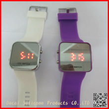 Color Storm Men Lady Mirror LED Date Day Silicone Rubber Band Digital Watch Gift