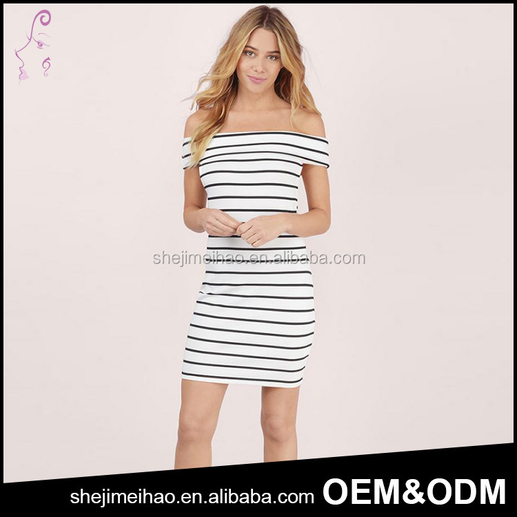 Wholesale Bulk Sale Elegant Off Sholuder Short Sleeve Striped Short Summer Frivolous Dress Order