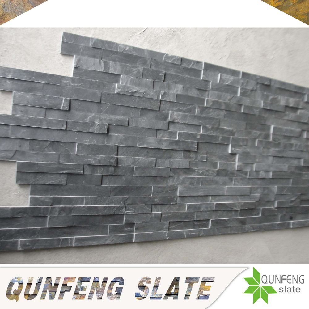 natural black slate wall decorative panel veneer z brick stone