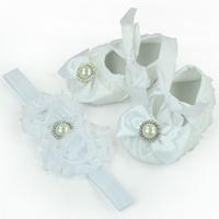 White Rosette Baby Crib Shoes With Rhinestone Newborn Baby Girls Shoes 4 Sizes Crib Shoes In Stock