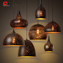 E27 vintage chanderlier etch shade pendant light
