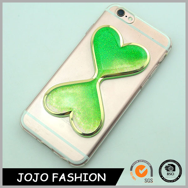 PU material with liquid floating heart cell phone cover back cover